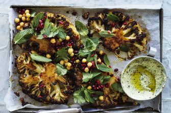 ***EMBARGOED FOR GOOD FOOD, SEP 24, 2019 ISSUE*** Jill Dupleix recipe: Cauliflower steaks with harissa and honey Photography by William Meppem (photographer on contract, no restrictions)