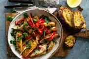 Danielle Alvarez's sweet and spicy chicken and sausage bake recipe.
