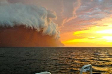 The 'red wave' dust storm off the coast of Western Australia in 2013.
