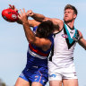 Late burst sees Port Adelaide snatch a 10-point win over Dogs