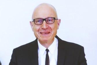 News Corp Australia's Robert Thomson appears via videolink for the Senate hearing on media diversity.