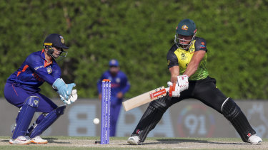 Marcus Stoinis bats during Australia's loss to India in the World Cup warm-up match.