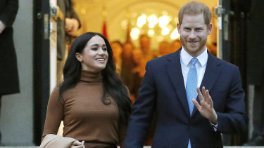 Bound for Hollywood: Prince Harry and Meghan Markle in January.