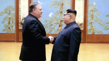 Then-CIA director, now secretary of state Mike Pompeo shakes hands with North Korean leader Kim Jong-un in Pyongyang at Easter.
