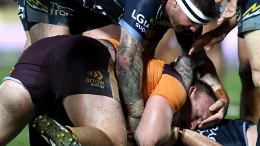 Josh McGuire was not charged over this tackle where he appears to have his hand near Matt Lodge's eyes.