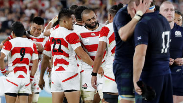 'People are suffering': Japan captain Michael Leitch and coach Jamie Joseph paid tribute to those affected by the typhoon.