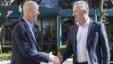 Fairfax CEO Greg Hywood and Nine Network's Hugh Marks.