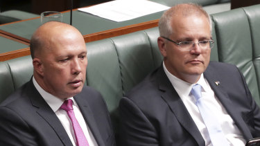 Minister for Home Affairs Peter Dutton and Prime Minister Scott Morrison.