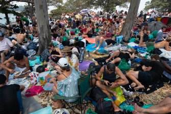 Crowds at Mrs Macquarie's Chair ahead of New Year's Eve fireworks in 2019.