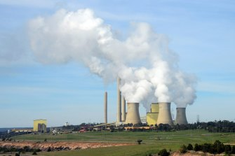 Steam billows from the cooling towers at the Loy Yang A coal-fired power station in the Latrobe Valley.