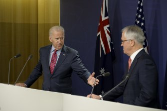 Then US vice-president Joe Biden delivering a joint press statement with then-prime minister Malcolm Turnbull at the Commonwealth Parliamentary Offices in July 2016.