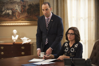 Tony Hale, left, and Julia Louis-Dreyfus star in Veep, which can be streamed via Foxtel on Demand.