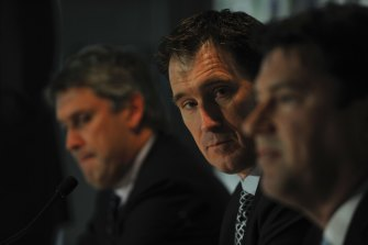 Former Nine boss David Gyngell, Cricket Australia's chief executive James Sutherland and McLennan at the announcement of the new broadcasting rights of Australian Cricket.