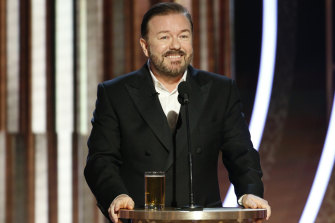 Ricky Gervais on stage at the 77th annual Golden Globe Awards.
