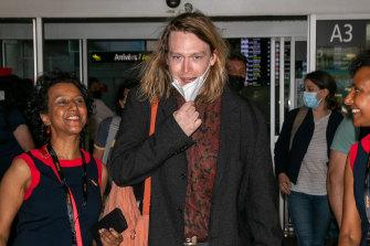 Caleb Landry Jones arriving in Cannes.