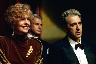 From left, Diane Keaton, George Hamilton and Al Pacino in The Godfather Part III.