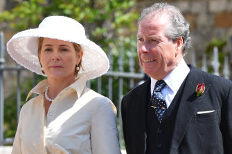 Serena, Countess of Snowdon and David Armstrong-Jones, 2nd Earl of Snowdon at the wedding of Prince Harry and Meghan Markle in 2018.