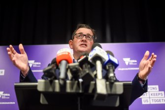 Premier Daniel Andrews speaks at the daily press conference.