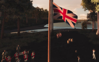 Marines stand below the British flag at Sydney Cove as portrayed in the Virtual Warrane for the Australia Day concert.