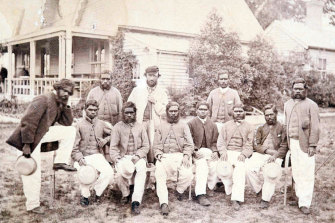 The Aboriginal cricket team who played the Melbourne Cricket Club on Boxing Day 1866. Tom Wills is at the back wearing a cap.