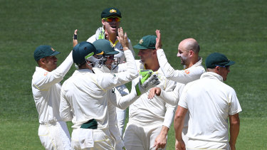 Another one down: Nathan Lyon celebrates dismissing Rishabh Pant.