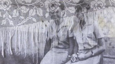 Christus Nóbrega's'The Two Friends'(2017), print on linen and lace, from the exhibitionLabirinto.