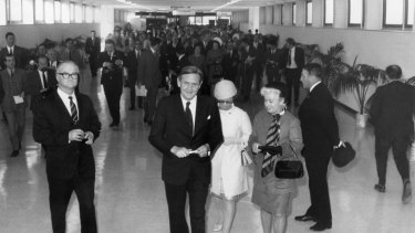 Prime Minister John Gorton inspects the new Tullamarine Airport in Melbourne at the official opening.