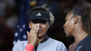 Naomi Osaka and Serena Williams after the women's final of the US Open.