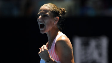 Upset: Karolina Pliskova is through to her first Australian Open semi-final.