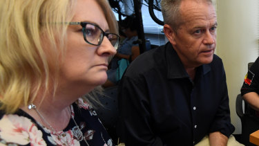 Queensland's Disability Services Minister Coralee O'Rourke with Opposition Leader Bill Shorten.