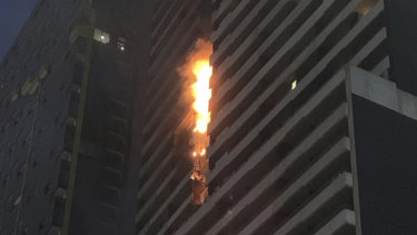 The Spencer Street apartment building that caught fire this morning is believed to be covered in combustible cladding.