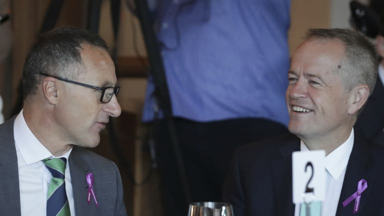 Richard Di Natale, the Greens leader (left), with Labor leader Bill Shorten at a breakfast gathering earlier this year.