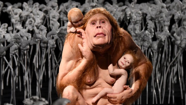 The art work titled Kindred by artist Patricia Piccinini is seen during her exhibition called Curious Affection at Queensland's Gallery of Modern Art