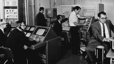 The NASA video centre at the Overseas Telecommunications Commission terminal in Paddington, Sydney, July 23, 1969.