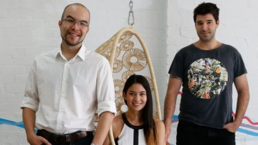 Canva, co-founders (l-r) Cameron Adams, Melanie Perkins and Cliff Obrecht. The company could have raised funds at a higher valuation, Obrecht says.