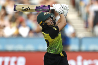 Alyssa Healy in action during the Twenty20 World Cup final.