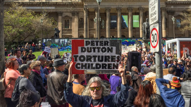 Protesters rally in Melbourne.