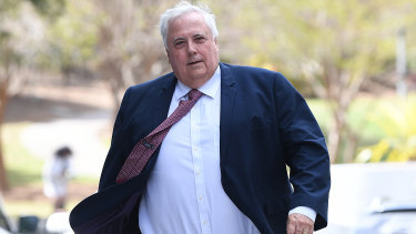 Clive Palmer arrives at the Supreme Court in Brisbane on Monday.