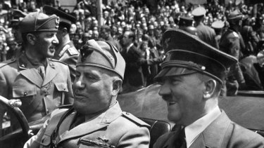 Adolf Hitler and Benito Mussolini in Munich, Germany, in 1940.