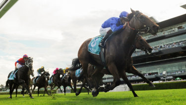 Hugh Bowman gets the drop on rivals with Alizee in the Apollo Stakes.