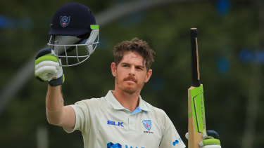 Daniel Hughes marks a century against South Australia at Bankstown Oval in February.