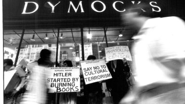 Members of the Free Speech Committee and the Australian Society of Authors protest the decision of two booksellers not to sell copies Of Salman Rushdie's novel on February 2, 1989.