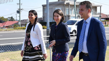Premier Gladys Berejiklian is flanked by Roads Minister Andrew Constance, right, and Miranda MP Eleni Petinos at an announcement on Tuesday for expressions of interest for construction of the motorway.