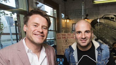 Major investors Calombaris and Radek Sali at Jimmy Grants in Fitzroy in 2016.