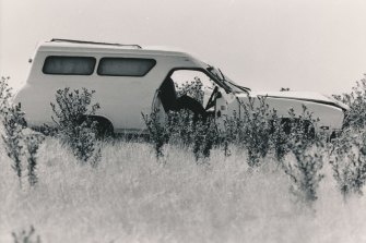 'Mad Max' Pavel Marinof's Ford panel van in a paddock near Kalkallo after the shootout.