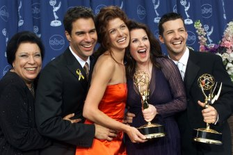Will and Grace team: Shelley Morrison, from left, Eric McCormack, Debra Messing, Megan Mullally and Sean Hayes celebrate their wins at the 2000 Emmy Awards in Los Angeles.
