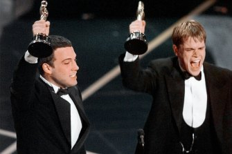 Ben Affleck and Matt Damon receive their best original screenplay Oscar awards in Los Angeles for Good Will Hunting in 1998.
