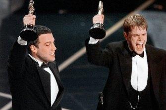 Ben Affleck and Matt Damon receive their best original screenplay Oscars for Good Will Hunting in 1998.