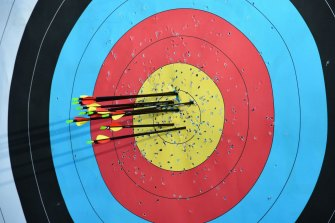 A target board at Moorabbin Archery Club. The club says five fully vaccinated people are allowed to shoot.