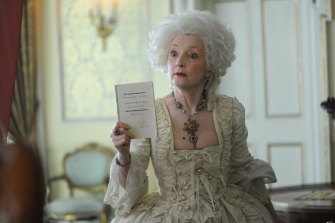Lesley Manville plays a brothel madam in Harlots, available via SBS on Demand.